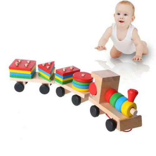Wooden Stacking Toddler Baby Vehicle Block Board Game Toy Tr