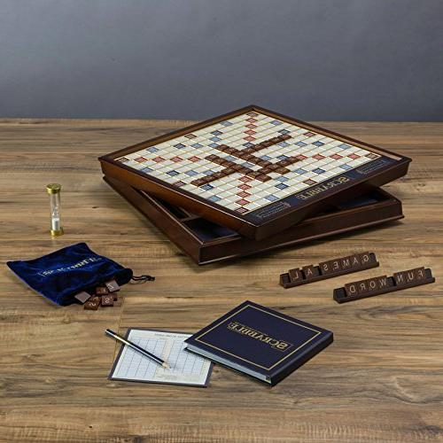 Winning Solutions Scrabble Deluxe Wooden Edition With Rotating