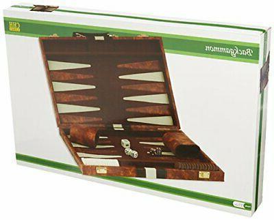 "18/""x22/"" Backgammon Set Brown White Faux Leather Portable Travel Folding Case NEW"
