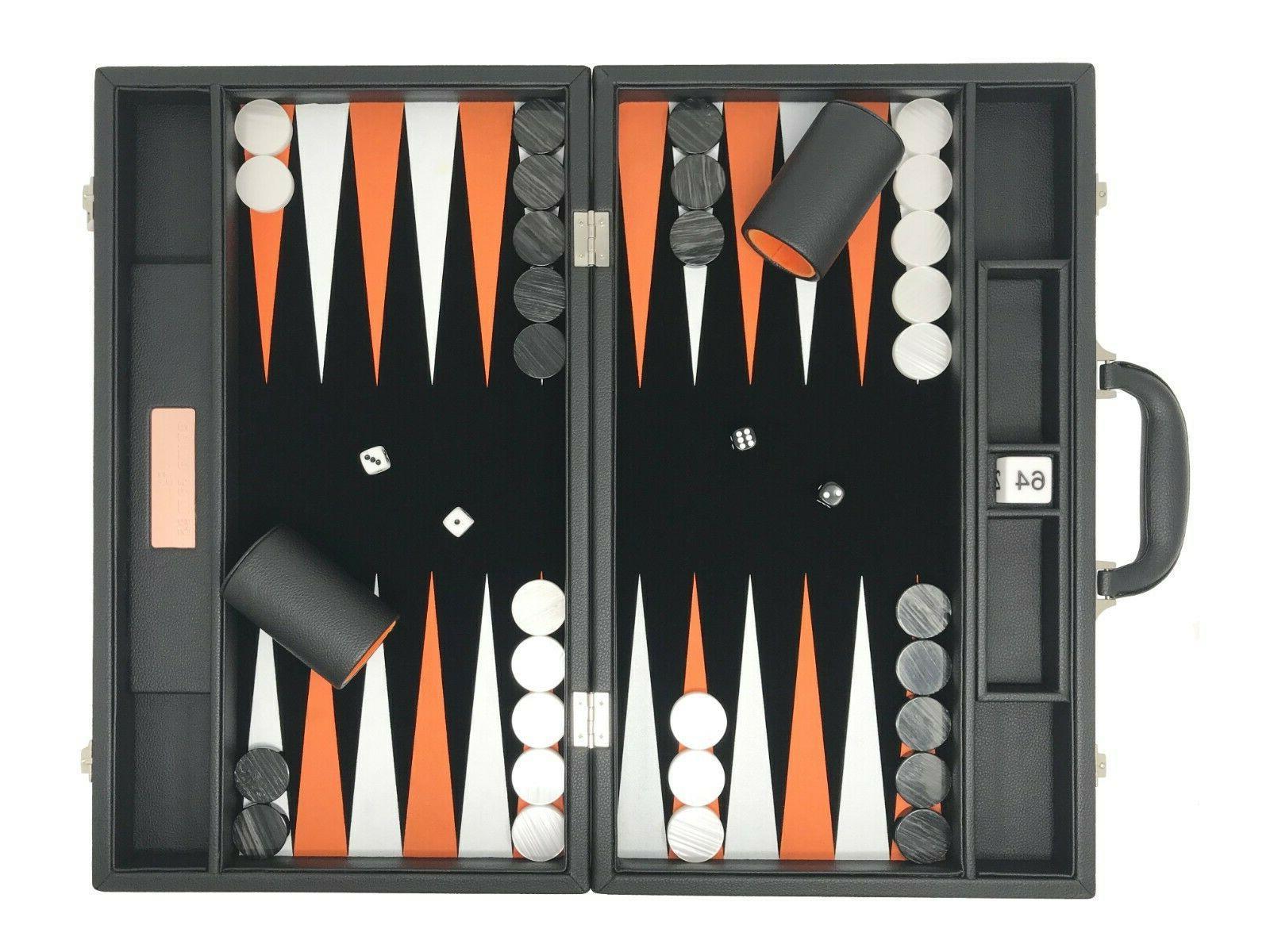 "Backgammon Set-Premium 18"" Classic Board Jet Black"