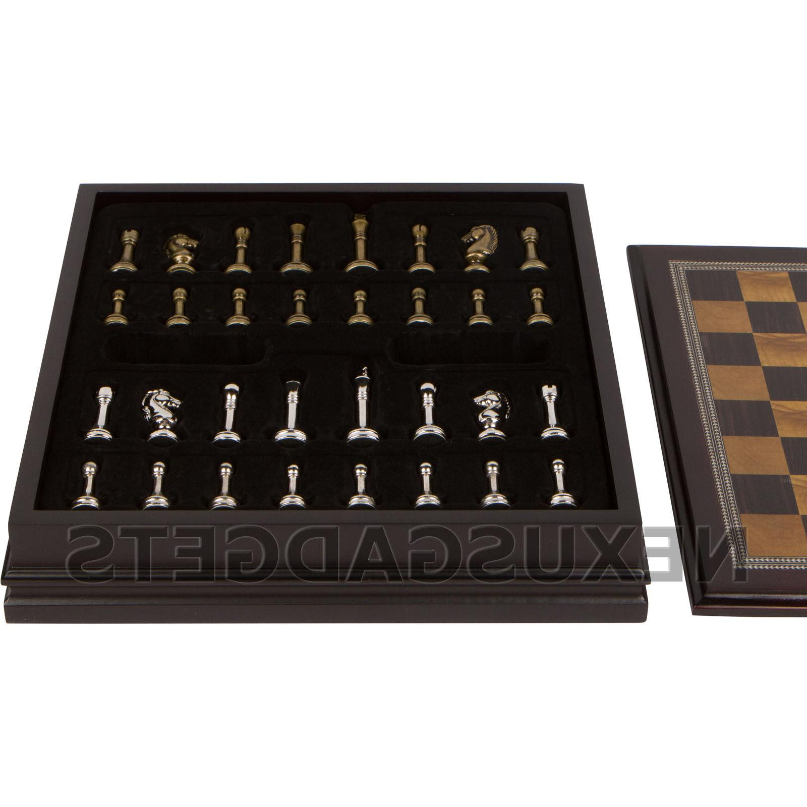 Gris Chess Board Game Set Wood Wooden Inlaid Storage Inch, New