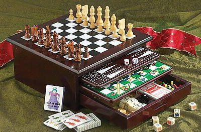 Deluxe Chess Backgammon Drawer 15 in 1 Classic