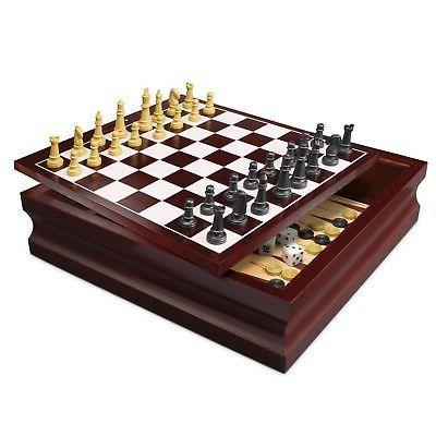 deluxe wooden chess checker backgammon