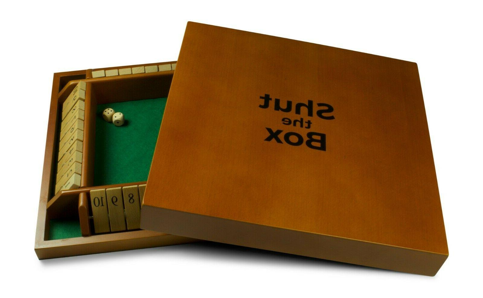 deluxe wooden shut the box 4 player