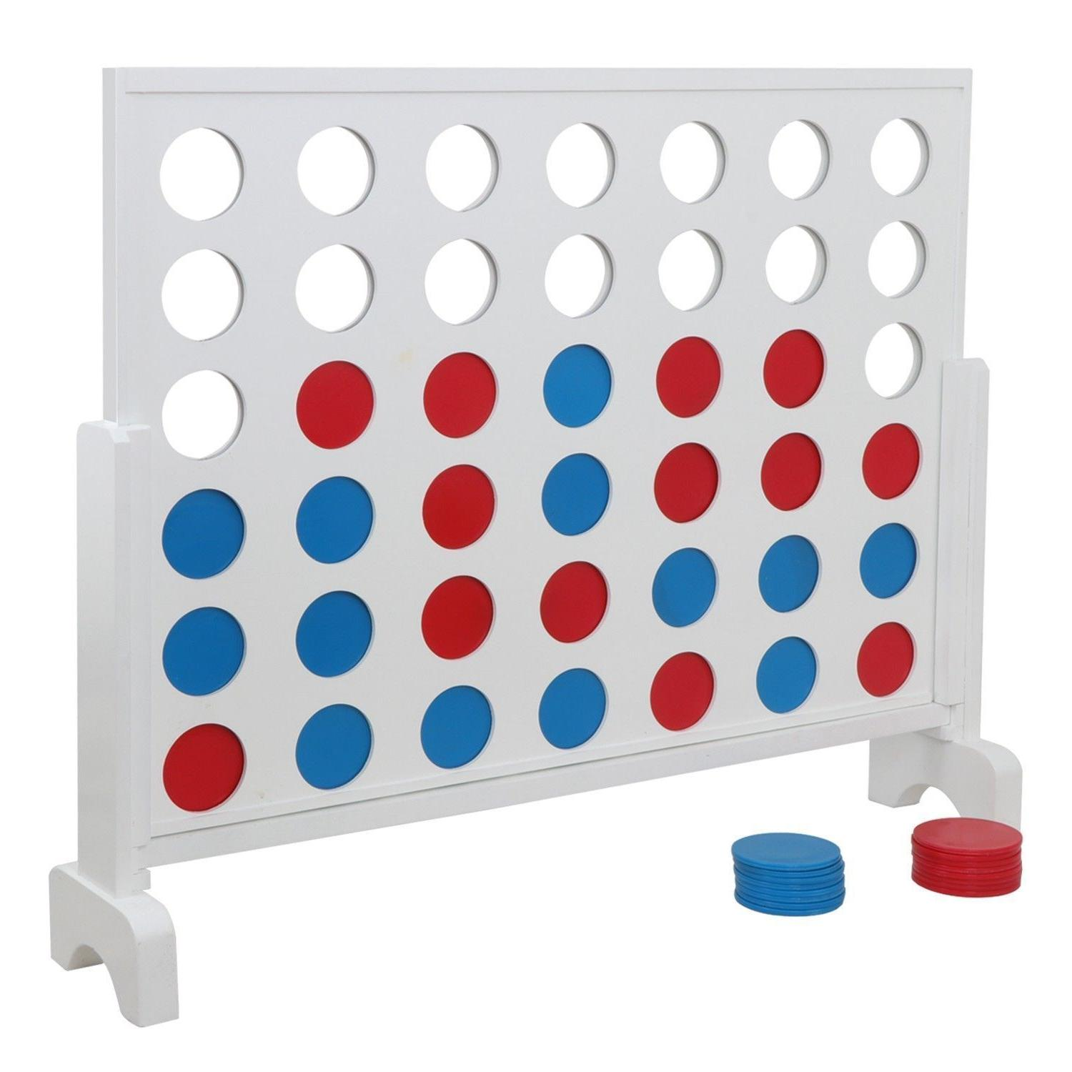 Giant 4 in a Row Game Case 3 Wooden Kids