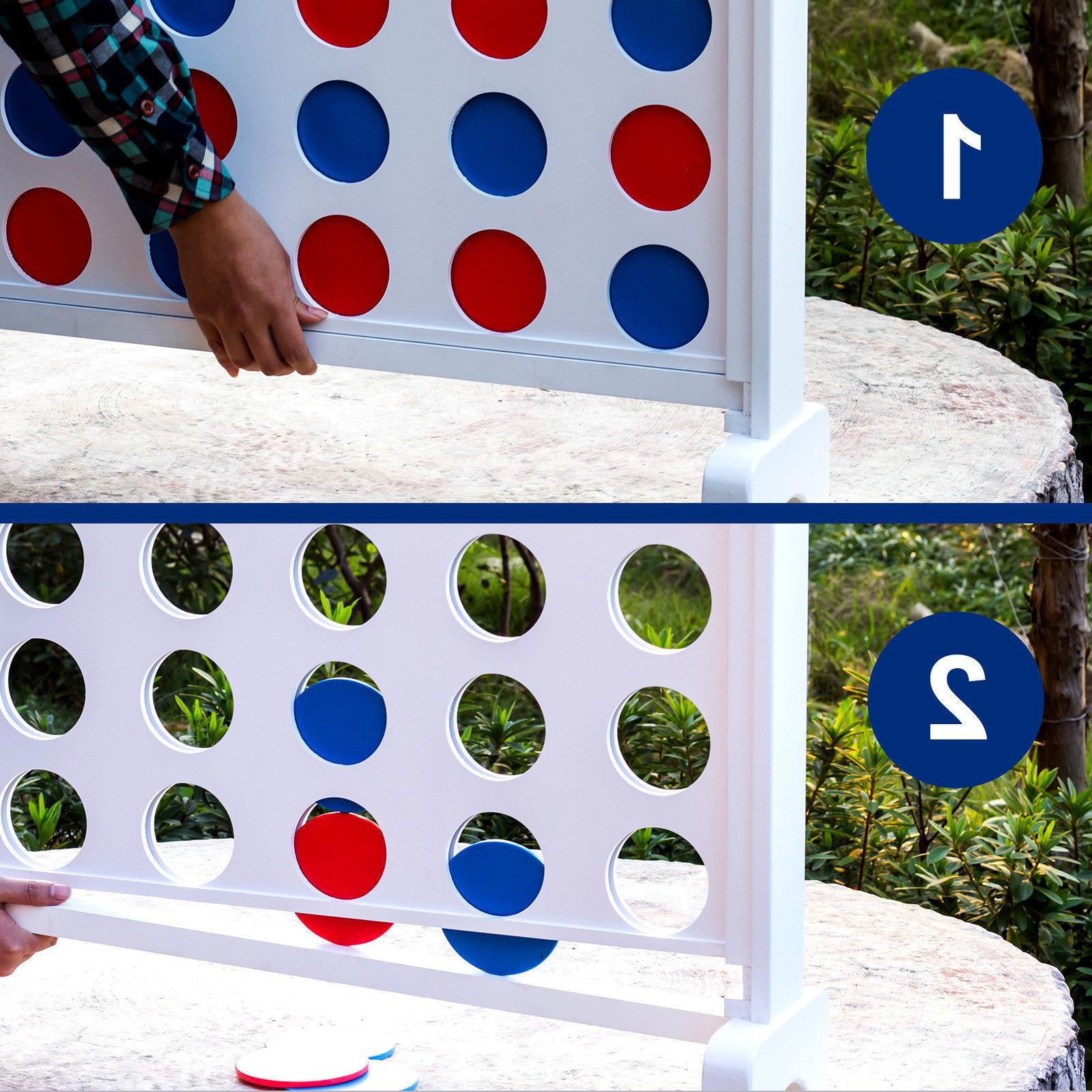 Giant Connect 4 In A Row Jumbo Yard Game Adults Wood