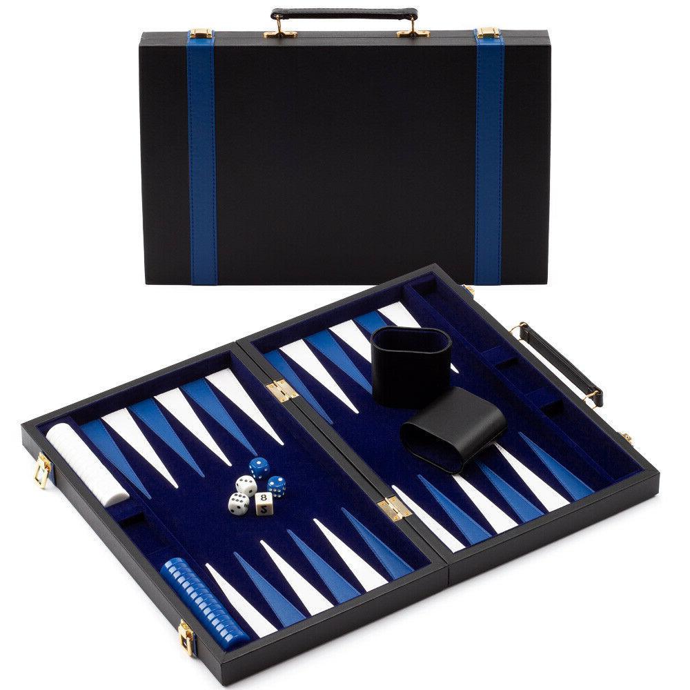small folding portable leather backgammon travel board