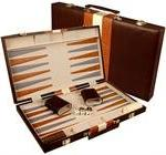 "Large 18"" Leatherette Backgammon Set - Brown"