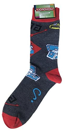 Men's Monopoly Game Board Themed Novelty Sock