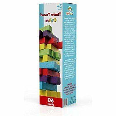 Timber GrownUp Tower Wooden Block Color Playset (60