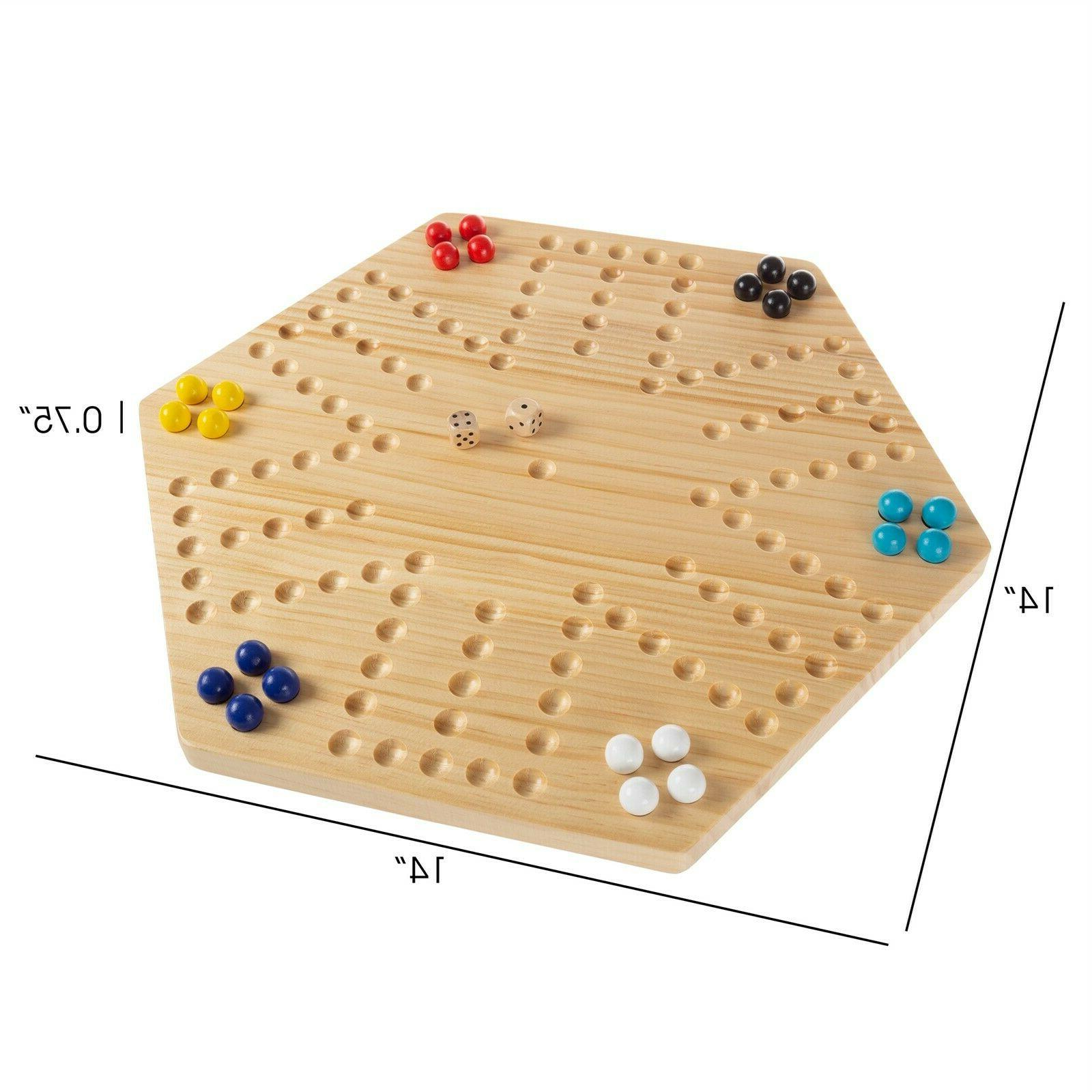 Wooden Board Marbles Dice Kids to 6 Player