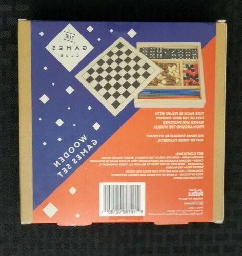 Wooden Set in 1 Dominoes Pick Backgammon -