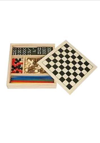 Wooden Games Set in Dominoes Backgammon - NEW