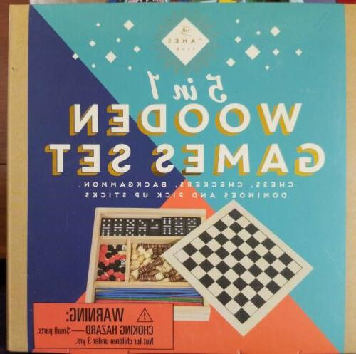 wooden games set 5 in 1 chess