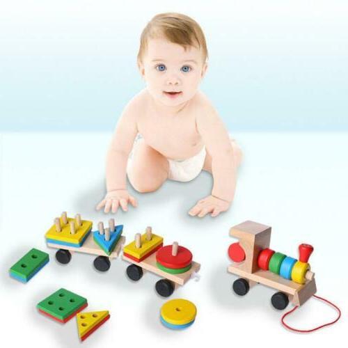 Toddler Baby Wooden Stacking Train Block Toy Fun Vehicle Blo