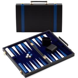 Small Folding Portable Leather Backgammon Travel Board Game
