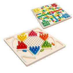 Drizzle Ludo Board Game & Chinese Checkers 2 in 1 Natural Wo