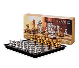 Magnetic Travel Chess Set with Board That Becomes A Storage
