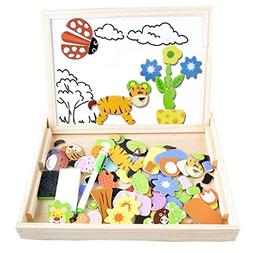 Magnetic Puzzles Kids Educational Wooden Games,Irady 100 Pie