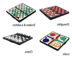 Magnetic Travel Board Games set of 4 - snakes & ladders, lud