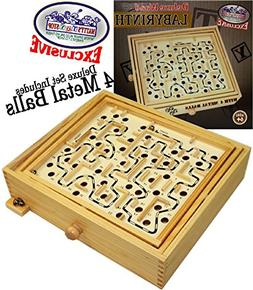 Matty's Toy Stop Deluxe Large Wood Labyrinth Game  with 4 Me