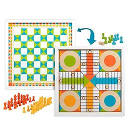 Melissa & Doug Double-Sided Wooden Chess & Pachisi Board Gam