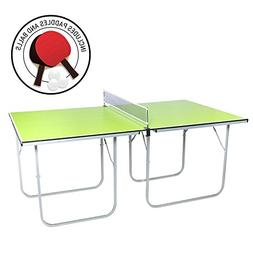 Midsize Ping Pong Table, 40 x 70 inches, Includes Net, Paddl