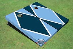 Navy Blue and Unc Blue Alternating Diamond Corn Hole Boards
