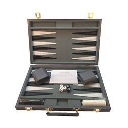 new 18 inch grey vinyl backgammon set
