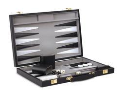 NEW! 21 inch, BACKGAMMON Set, Black case by CHH