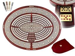 """11.6"""" Oval Shape 4 Tracks Continuous Cribbage Board / Box Bl"""