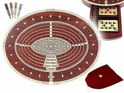 Oval Shape 4 Tracks Continuous Cribbage Board and box in Blo