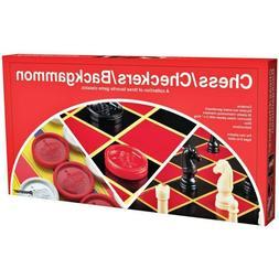 Pressman Toy Board Game- Chess/Checkers/Backgammon Set For F