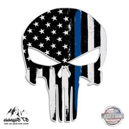 Punisher Skull Thin Blue Line USA Support Police Sticker - 2