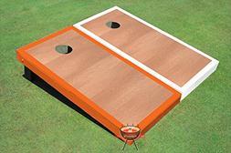 Rosewood Orange and White Border Corn Hole Boards Cornhole G