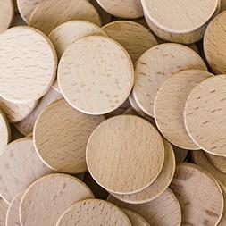 "Round Unfinished 1.5"" Wood Cutout Circles Chips for Arts & C"