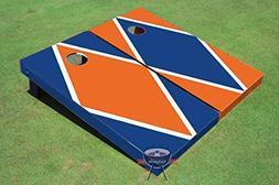 Royal Blue and Orange Alternating Diamond Corn Hole Boards C