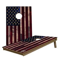 Full Color Rustic American Flag 3'x2' Tailgate Size Bean Bag