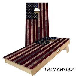 Full Color Rustic Wood American Flag Cornhole Board Set