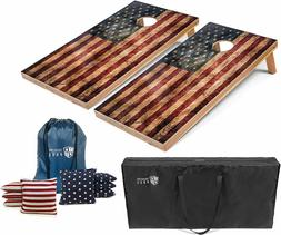 Set of 4'x2' Distressed American Flag Cornhole Boards With 8