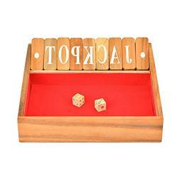 BRAIN GAMES Shut The Box Classic Wooden Family Board Games,