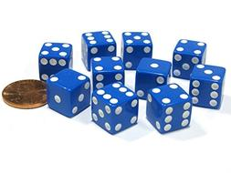 Set of 10 Six Sided D6 12mm Square Dice Blue