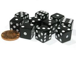 Set of 10 Six Sided D6 12mm Square Dice Black by Koplow Game