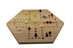Solid Maple Double Sided Aggravation Marbles Board Game Hand