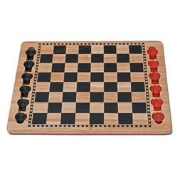 WE Games Solid Wood Checkers Set - Red & Black Traditional S