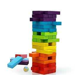 Joqutoys 54 Pieces Stacking Blocks Board Games Wooden Buildi