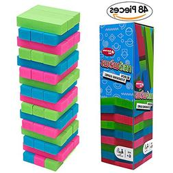 NEOWOWS Stacking Board Games Wooden Building Blocks Tower Ca