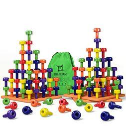 Stacking Peg Board Set Toy   JUMBO PACK   Montessori Occupat