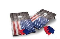 Wild Sports Stars and Stipes Cornhole Set, Flag on Distresse