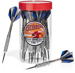 24 Bullseye Steel Tip Darts with Flights in Handy Carry and